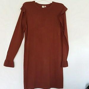 Sweater dress. Rust color